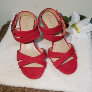 Antonio Melani red suede strappy sandals size 8